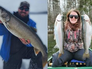 an angler with a big lake trout and an angler with two smaller rainbow trout
