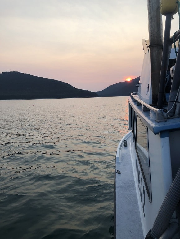 a commercial salmon fishing boat in Bristol Bay in Alaska