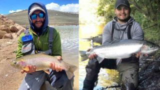 two trout fishermen holding a beautiful rainbow trout and a big steelhead