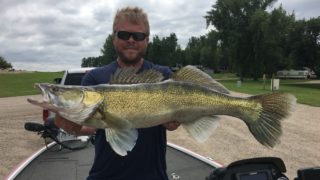 Sam Wenner with the North Dakota record zander from Spiritwood Lake