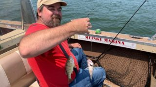 a fisherman on a boat holding up his line and hooks with two small yellow perch