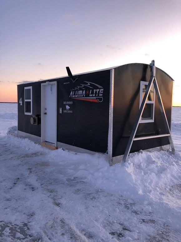 a permanent ice shack on lake of the woods